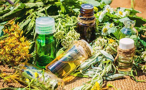 Травы и масло в баночках